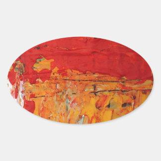 Los ricos texturizaron el extracto amarillo rojo pegatina ovalada