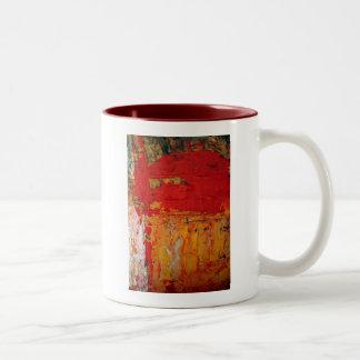 Los ricos texturizaron el extracto amarillo rojo taza de dos tonos