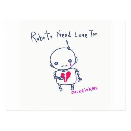 ¡Los robots necesitan amor también! Postal