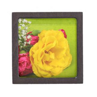 Los rosas amarillean las flores foto hermosa reg caja de recuerdo de calidad