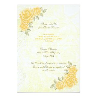 Los rosas amarillos del vintage que casan la ducha invitación 12,7 x 17,8 cm