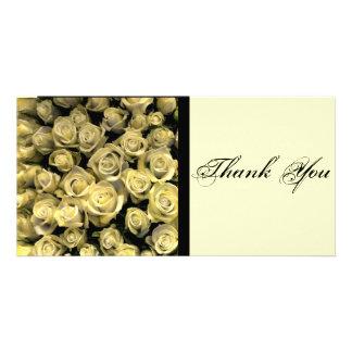 Los rosas amarillos le agradecen tarjeta fotografica personalizada
