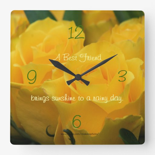 Los rosas amarillos Reloj-personalizan su manera Reloj Cuadrado