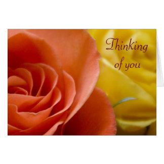 Los rosas anaranjados y amarillos que piensan en u tarjeta de felicitación