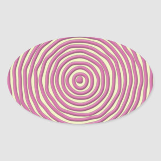 Los rosas bebés dan círculos exhaustos pegatina ovalada