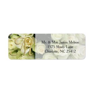Los rosas blancos Champán se ruborizan habitación Etiqueta De Remite