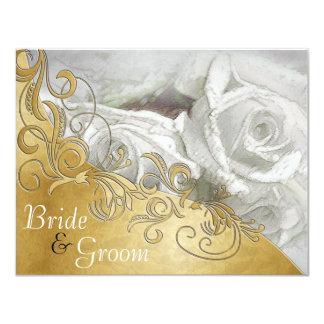 """Los rosas blancos en la plata con el Oro-Flate 2 Invitación 4.25"""" X 5.5"""""""