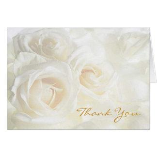 Los rosas blancos le agradecen boda tarjeta pequeña