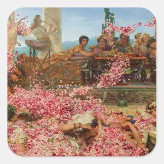 Los rosas de Heliogabalus de Lawrence Alma-Tadema Pegatina Cuadrada