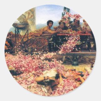 Los rosas de Heliogabalus de Lawrence Alma-Tadema Pegatina Redonda