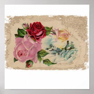 Los rosas de invierno pintaron el poster