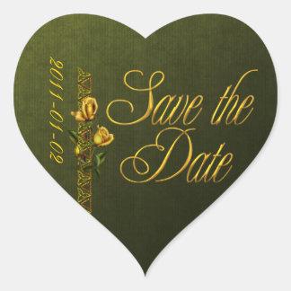 Los rosas de oro que casan la habitación ahorran pegatina en forma de corazón