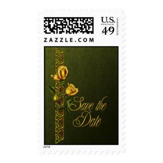 Los rosas de oro que casan la habitación ahorran sello