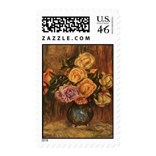 Los rosas de Renoir delante de una Curtain azul (1 Sellos