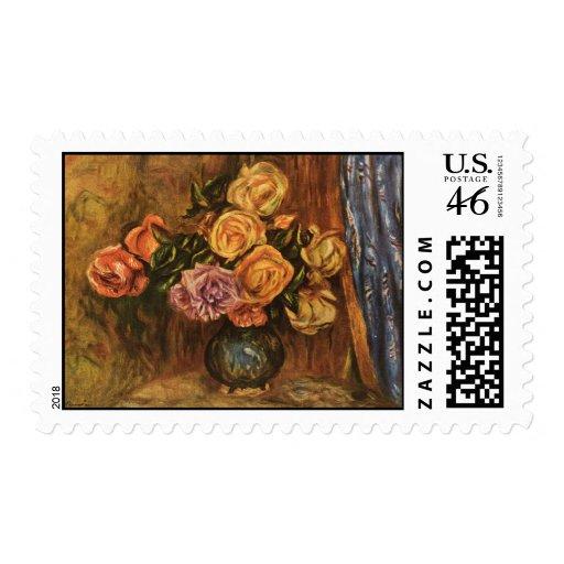 Los rosas de Renoir delante de una Curtain azul (1 Sello