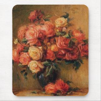 Los rosas de Renoir en todavía del florero una Tapetes De Ratón