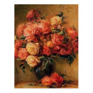 Los rosas de Renoir en todavía del florero una vid Postales