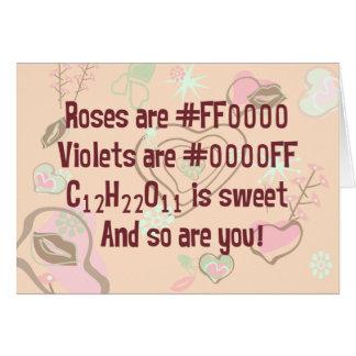 Los rosas del friki son rojos tarjeta de felicitación