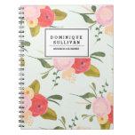Los rosas del país del vintage personalizaron el cuaderno