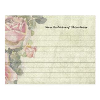 Los rosas del vintage personalizaron tarjetas de l tarjeta postal