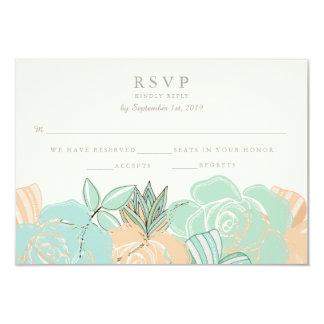 """Los rosas elegantes del melocotón acuñan RSVP que Invitación 3.5"""" X 5"""""""