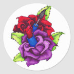 Los rosas femeninos del chica pegatina redonda