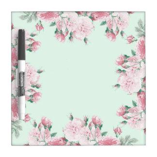 Los rosas florales secan moda lamentable del table pizarras blancas