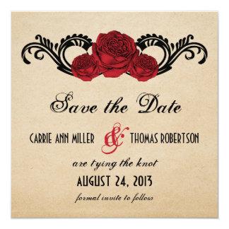 Los rosas góticos del remolino ahorran la fecha invitación 13,3 cm x 13,3cm