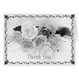 Los rosas negros y blancos - gracias tarjeta pequeña