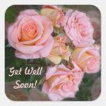 Los rosas para mi ~ del amor consiguen a los calcomanía cuadrada personalizada
