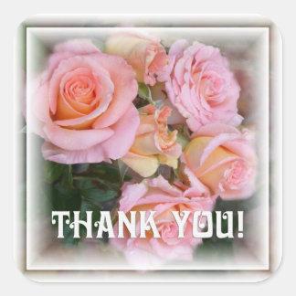"""Los rosas para mi ~ del amor """"le agradecen!""""  pegatina cuadrada"""
