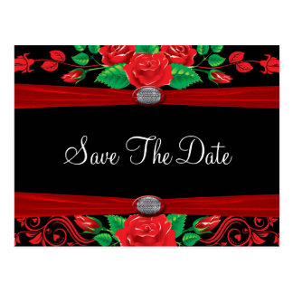 Los rosas rojos de la vid en negro ahorran la fech tarjeta postal