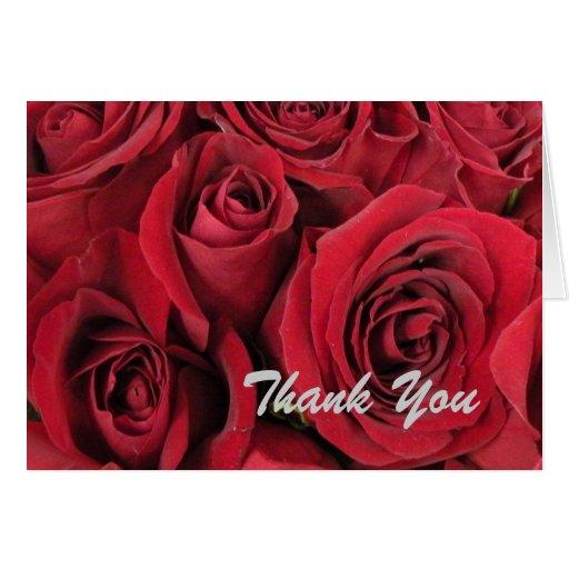 Los rosas rojos le agradecen cardar tarjeta