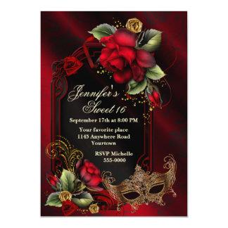 """Los rosas rojos y el dulce dieciséis de la máscara invitación 5"""" x 7"""""""