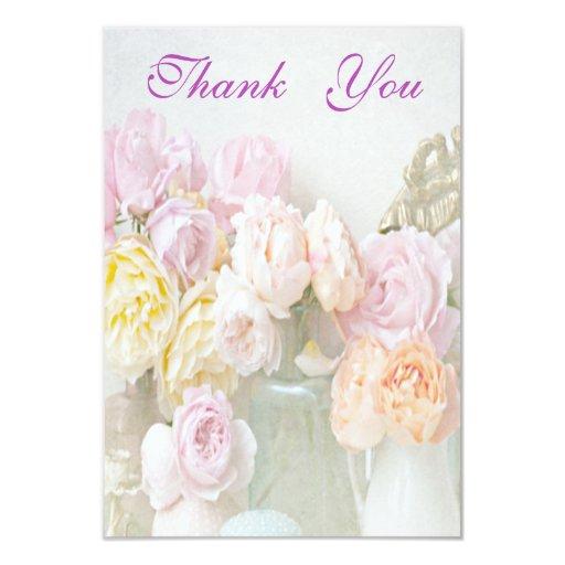 """Los rosas románticos en tarros le agradecen invitación 3.5"""" x 5"""""""