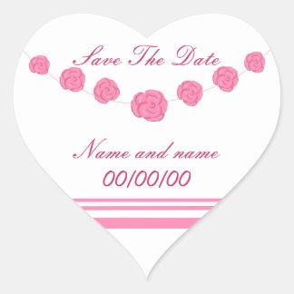 Los rosas rosados ahorran la fecha, pegatinas del pegatina en forma de corazón