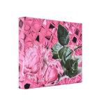 Los rosas rosados del vintage estiraron la impresi lienzo envuelto para galerías