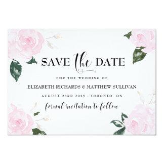 """Los rosas rosados dulces de la acuarela ahorran la invitación 5"""" x 7"""""""