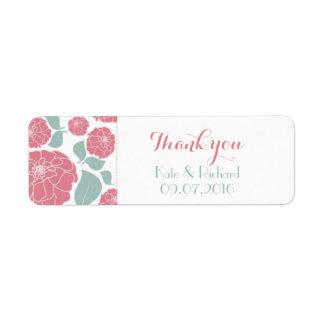 Los rosas rosados le agradecen etiqueta del etiquetas de remite