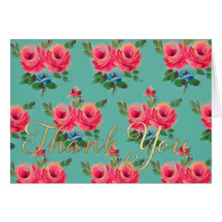"""Los rosas rosados """"le agradecen"""" notecard tarjeta pequeña"""