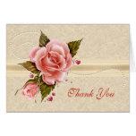 Los rosas rosados le agradecen tarjeta