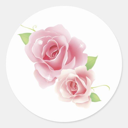 Los rosas rosados multan floral retro femenino pegatina redonda