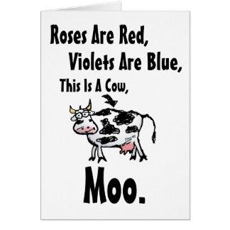 Los rosas son Rojo-Estos son un interior Vaca-En Tarjeta De Felicitación