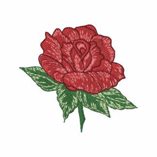 Los rosas son rojos. El rosa rojo bordado Sudadera Bordada Con Cremallera De Mujer