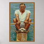 Los Rowers de Sculling que reman el vintage se div Poster