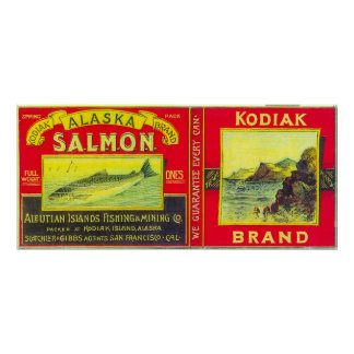 Los salmones del Kodiak pueden la isla de LabelKod Posters