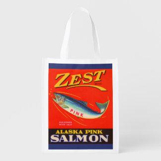 los salmones del rosa del ánimo de los años 30 bolsa reutilizable