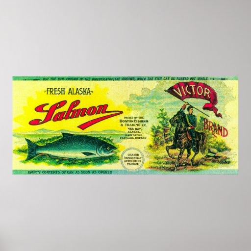 Los salmones del vencedor pueden la bahía de Label Póster