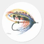 Los salmones FlyFishing del arte del señuelo Etiqueta Redonda