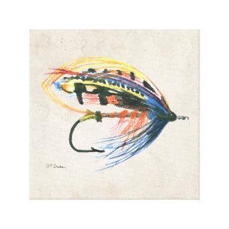 Los salmones FlyFishing del arte del señuelo vuela Impresión En Lona